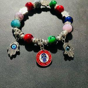 Evil eye / hand stretchy bracelet adult